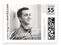 This is a white kids postage stamp by Minted called Elegant Graduate with standard printing on adhesive postage paper in stamp.