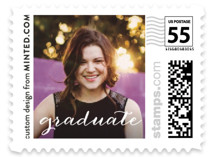 This is a white kids postage stamp by Minted called Bright Future with standard printing on adhesive postage paper in stamp.