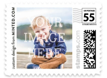 This is a white kids postage stamp by Minted called The Big Picture with standard printing on adhesive postage paper in stamp.