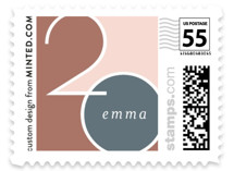 This is a pink kids postage stamp by Erin German Design called Vertical with standard printing on adhesive postage paper in stamp.