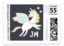 This is a blue kids postage stamp by peetie design called Magical Pegasus with standard printing on adhesive postage paper in stamp.