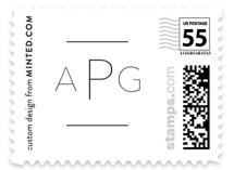 This is a white kids postage stamp by Erin Deegan called script and sans with standard printing on adhesive postage paper in stamp.