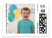 This is a colorful kids postage stamp by Minted called Birthday Balloon with standard printing on adhesive postage paper in stamp.