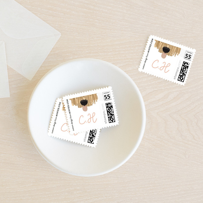 """""""Pawsome Note"""" - Baby And Kids Stamps in Blush by Gwen Bedat."""