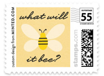 This is a yellow kids postage stamp by Erica Krystek called What Will It Bee with standard printing on adhesive postage paper in stamp.