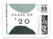 This is a green kids postage stamp by Morgan Kendall called Semi Circles with standard printing on adhesive postage paper in stamp.