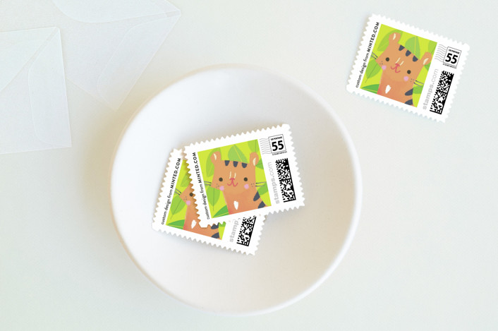 """""""Jungle Tigers"""" - Hand Drawn Baby And Kids Stamps in Celery by Lori Wemple."""
