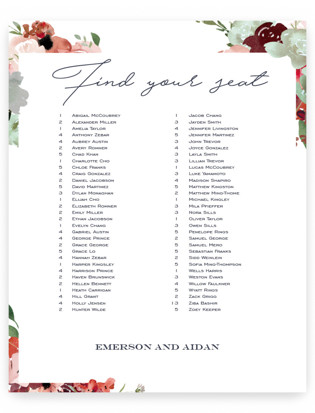 cascading florals Seating Charts