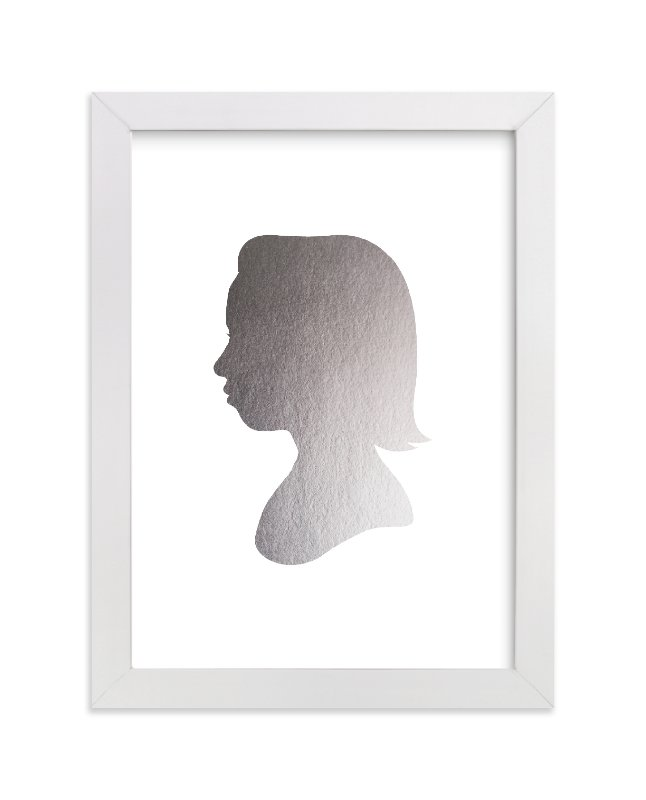 This is a silver silhouette art by Minted called Custom Silhouette Foil Art with foil-pressed.