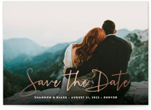 This is a white foil stamped save the date card by Hooray Creative called Stylish Script with foil-pressed printing on signature in grand.