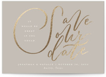 This is a brown foil stamped save the date card by Jackie Crawford called It would be Great with foil-pressed printing on recycled in grand.