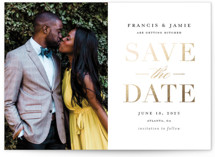 This is a white foil stamped save the date card by Stacey Meacham called Simply Striking with foil-pressed printing on signature in grand.