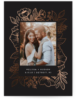 This is a black foil stamped save the date card by Genna Blackburn called Cut Flowers with foil-pressed printing on signature in grand.