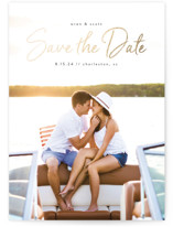 This is a black foil stamped save the date card by Jennifer Postorino called Soulmate with foil-pressed printing on signature in grand.