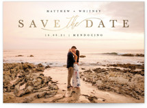 This is a black foil stamped save the date card by Kate Ahn called Simple Beauty with foil-pressed printing on signature in grand.