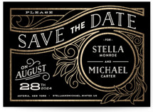 This is a black petite save the date by GeekInk Design called Antique Lines with foil-pressed printing on signature in petite.