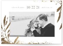 This is a grey petite save the date by Robert and Stella called Gilded Botanicals with foil-pressed printing on smooth signature in petite.