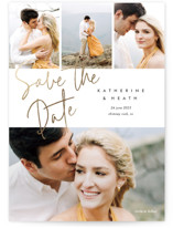 This is a white petite save the date by Stacey Meacham called Can't Wait with foil-pressed printing on smooth signature in petite.