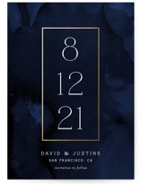This is a blue petite save the date by Paper Dahlia called Modernized with foil-pressed printing on signature in petite.