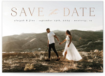 This is a black petite save the date by Morgan Kendall called Classic Lettering with foil-pressed printing on recycled in petite.
