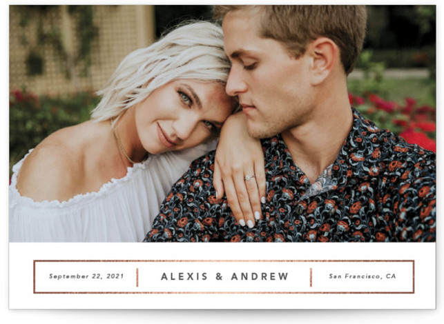 This is a white Save the Dates by Ink and Letter called Alexis with Foil Pressed printing on Signature in Petite Flat Card format. Simple and minimalist, this save the date features clean white space and subtle foil details.