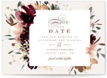 This is a brown petite save the date by Leah Bisch called harvest with foil-pressed printing on signature in petite.