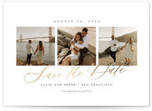 This is a white petite save the date by Sarah Brown called Topside with foil-pressed printing on signature in petite.
