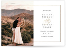This is a white petite save the date by Jessica Williams called Bianca with foil-pressed printing on signature in petite.