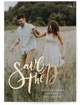 This is a white petite save the date by Annie Mertlich called Summertime Love with foil-pressed printing on smooth signature in petite.