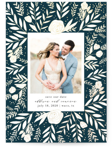 This is a portrait botanical, blue Save the Dates by Annie Montgomery called Golden Fields with Foil Pressed printing on Signature in Petite fold over (blank inside) format. Intricately laid flora in a foil patterned background to this elegant, photo ...