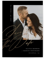 This is a black petite save the date by Kristie Kern called Delancey with foil-pressed printing on smooth signature in petite.