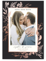 This is a black petite save the date by Susan Moyal called Our Day with foil-pressed printing on smooth signature in petite.