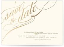 Winter Flourish Foil-Pressed Save the Date Petite Cards