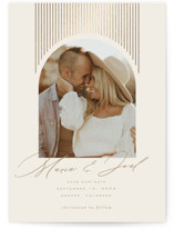 This is a beige petite save the date by Leah Bisch called Shine On with foil-pressed printing on smooth signature in petite.