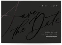 This is a black petite save the date by Eric Clegg called Brush Script with foil-pressed printing on signature in petite.