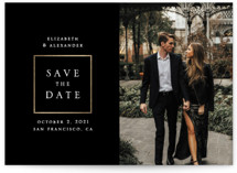 This is a black and white petite save the date by Remioni called Сlassic with foil-pressed printing on smooth signature in petite.