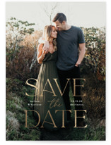 This is a white petite save the date by Susan Asbill called Gilded greeting with foil-pressed printing on doublethick in petite.