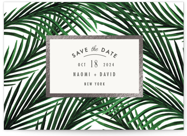 This is a landscape botanical, green, grey Save the Dates by Elly called Tropical Love with Foil Pressed printing on Signature in Petite Flat Card format. Painted palm leaves for love of the tropical.