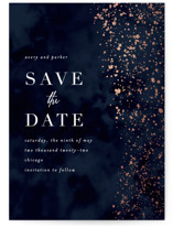 This is a blue petite save the date by Angela Marzuki called glistening stardust with foil-pressed printing on smooth signature in petite.