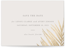 This is a beige petite save the date by Melinda Denison called Gilded Palm with foil-pressed printing on signature in petite.