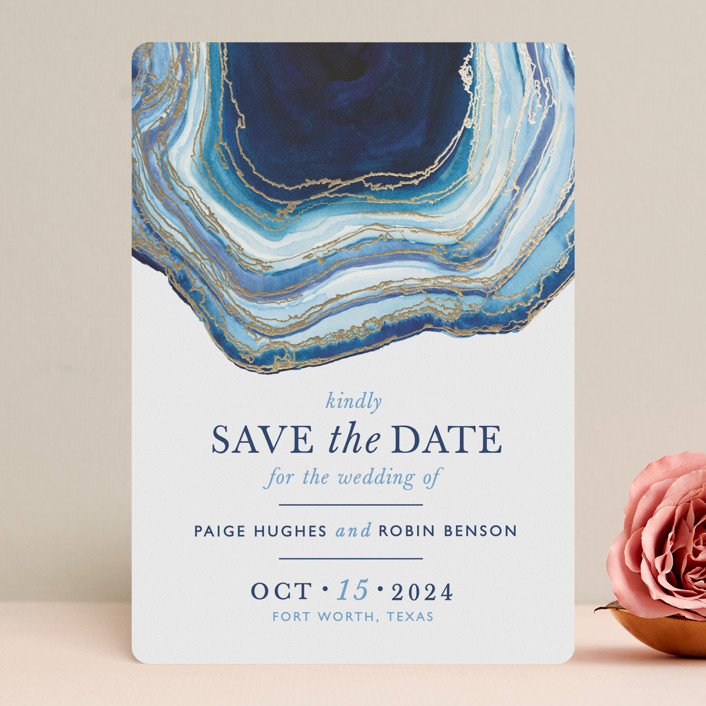 """""""Gilt Agate"""" - Rustic Foil-pressed Save The Date Cards in Navy by Kaydi Bishop."""