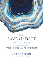 Gilt Agate Foil-Pressed Save the Date Cards By Kaydi Bishop
