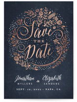 This is a blue foil stamped save the date card by Phrosne Ras called The Wedding Bouquet with foil-pressed printing on signature in standard.