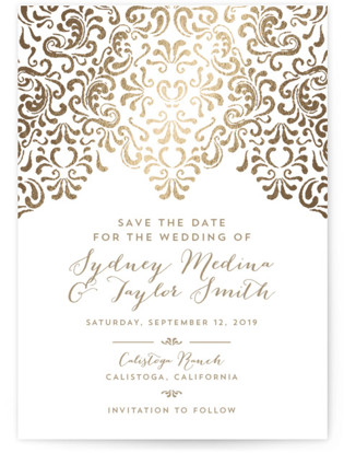 Black Tie Wedding Foil-Pressed Save the Date Cards