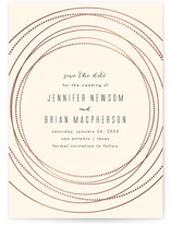 This is a beige foil stamped save the date card by Rebecca Bowen called Circled with foil-pressed printing on signature in standard.
