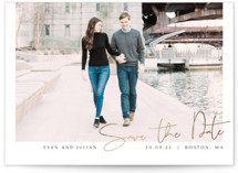 This is a white foil stamped save the date card by Jennifer Lew called Beloved with foil-pressed printing on smooth signature in standard.