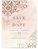 This is a pink foil stamped save the date card by Carolyn Nicks called distressed tile with foil-pressed printing on signature in standard.