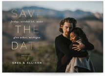 This is a white foil stamped save the date card by Pixel and Hank called Have It All with foil-pressed printing on smooth signature in standard.