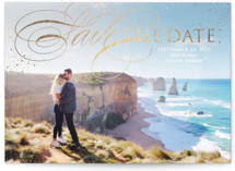 This is a white foil stamped save the date card by Erin Deegan called sprinkled in gold with foil-pressed printing on smooth signature in standard.