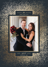 Gilded Frame Foil-Pressed Save the Date Cards By Lori Wemple